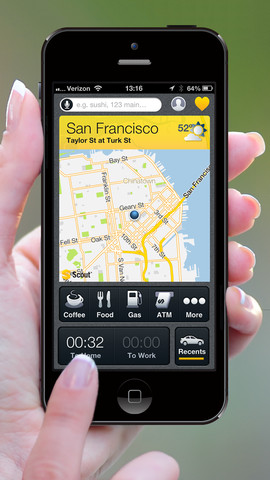 Beautiful iOS 7 Concept, Scout Personalized iPhone GPS App